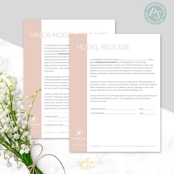 Model Release Template   Minor Model Release Template   Model Release Form    Photography Contract   Photoshop Template   Photographer Forms