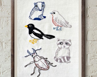 woodland embroidery pattern, rustic home decor, modern hand embroidery, beginner embroidery, diy home decor, racoon, stag bug