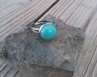 12mm Round Turquoise Silver Adjustable Ring
