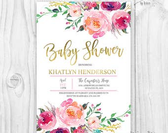 Floral baby shower invitation, burgundy and pink watercolor flowers, baby girl invites, boho baby shower invitation, rustic baby shower
