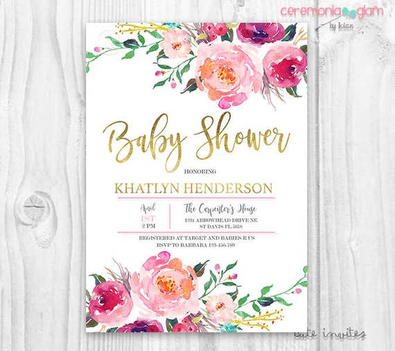 Hot pink floral baby shower invitation burgundy and pink watercolor il570xn stopboris Images