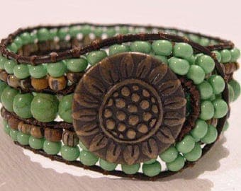 Beaded Wrap Bracelet, Cuff Bracelet, Beaded Leather Cuff - 901