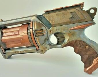 Steampunk Side Iron: Custom Nerf Maverick Pistol
