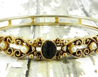 Florenza Bangle Bracelet, Pearl, Black Onyx, Gold Tone, Victorian Revival 1940s Vintage Jewelry SPRING SALE