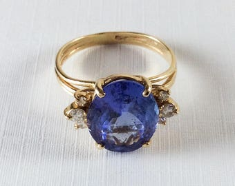 Tanzanite Ring, Diamonds, 14K Gold, Engagement, Wedding, 1940s Art Deco Vintage Jewelry SPRING SALE