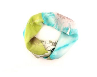 Aquamarine, Green, White; Silk Scarf, Designer Vera Prima Collection SPRING SALE
