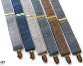 Linen Suspenders~Groomsmen Accessory~HoBo Ties~Groom~Wedding Suspenders~Natural Linen~Mens suspenders~Wedding Accessory