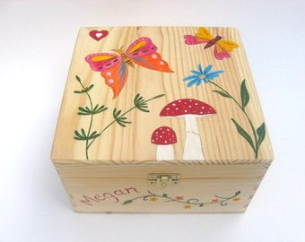 Extra Large personalised keepsake box, Children's memory box, Hand-painted wooden trinket box, Butterflies, flowers and toadstool Design.
