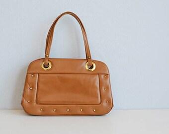 Vintage 60s Leather Handbag / 1960s Studded Caramel Brown Purse Bag with Large Gold Grommets