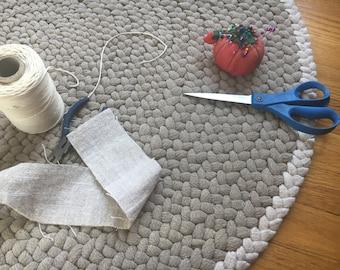 Round Hand Braided Linen Rug