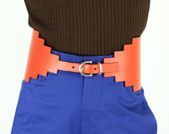 SONIA RYKIEL Architectural Orange Leather Belt