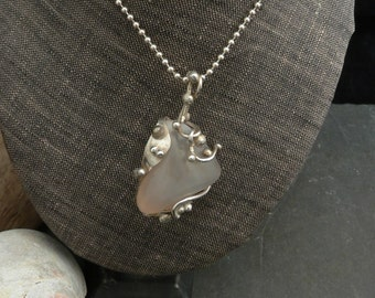 Smokey Warm Gray Agate Necklace in Sterling Silver