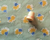 yellow and blue on green check floral print vintage cotton fabric -- 42 wide by 1 yard