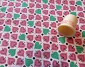 pink and green leaf pattern print vintage cotton fabric -- 34 wide by almost a yard plus