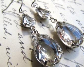 Art Deco Earrings Art Nouveau Earrings Miss Fisher Earrings 1920s Earrings Vintage Earrings Silver Teardrop Earrings- Dewdrops