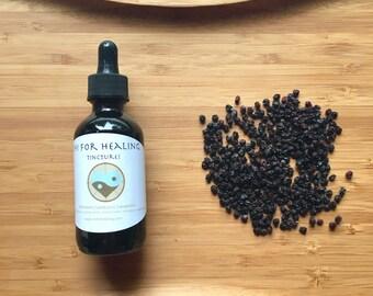 Elderberry Tincture, herbs, wild harvested, foraged, herbal tea, dried herbs, berries, herbal medicine, immunity, foraging, healing remedy