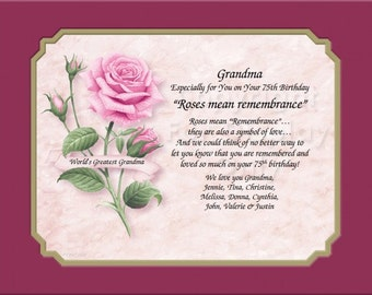 GRANDMA-3 Nana Roses Mean Remembrance-Mother's Day in Yellow,Red or Pink Rose Keepsake