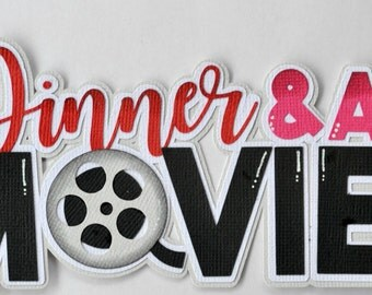 CrafteCafe Paper Piecing Dinner Movie Title for Premade Scrapbook Page Valentine