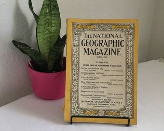 Vintage Magazine, June 1927, National Geographic, free shipping US & Canada