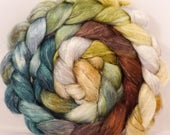 Hand dyed Tussah Silk / flax roving - ( 65/35)-Winter Beech-   (4.4 oz.)