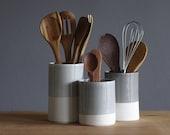 One porcelain utensil holder in your choice of glaze color. Modern kitchen utensil holder handmade by vitrifiedstudio.