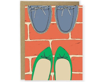 Couple Card - Green Flats & Boat Shoes Card, Love Card, Card For Couples