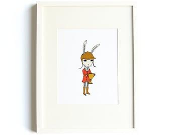 Equestrian Rabbit Print - 8x10 Rabbit Print, Bunny, Nursery Art, Animal Art, Outdoor Adventure, Horseback Riding