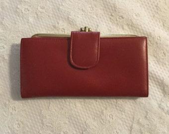 Vintage Red  Leather Ladies Wallet,Buxton,John Weitz