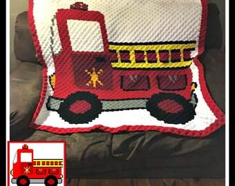 Firetruck Afghan, C2C Graph, Crochet Pattern