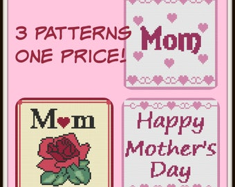 Mom's Afghans, Set of 3 Patterns, C2C Graph, Written Word Chart