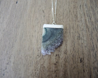 Amethyst Necklace, Amethyst Slice Pendant Necklace, Sterling Silver Chain Necklace, Amethyst Druzy Necklace, Amethyst Jewelry Gifts For Her