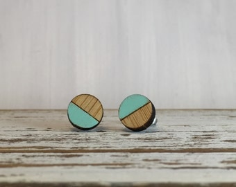 Mint Green Round Bamboo Earrings // Geometric // Hypoallergenic  // Wood Jewelry //