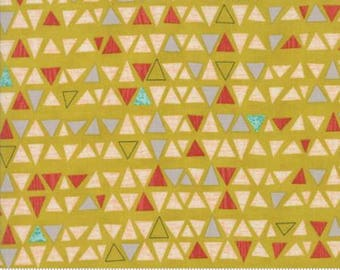 Ninja Cookies by Jenn Ski for Moda - Geometric Triangles -  Chartreuse Yellow - 1/2 Yard Cotton Quilt Fabric