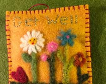 Needle Felted Little Pillow Get Well Floral Ornament With Heart