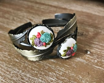 Bohemian Bracelet, Feather Jewelry, feather bangle, Embroidered Jewelry, Floral Jewelry, Bangle, Cuff, Gift for her