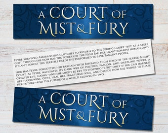 ACOMAF Title Bookmark - A Court of Mist and Fury Inspired Literary Quote Feyre Rhysand Tamlin Book Nerd Fandom Fan