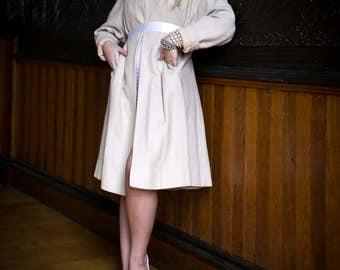 1940's Swing Coat., Beige Wool., Silk Jacket. // Designer Vintage Bonwit Teller Jacket