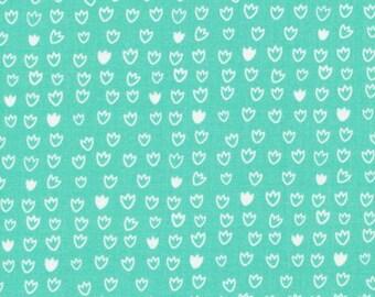 Tulip in Turquoise - Vignette - Aneela Hoey - Organic Cotton - Cloud 9 Fabrics - 1 Yard
