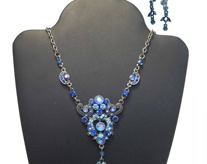 Blue rhinestone necklace earring set, up-cycled vintage necklace, light dark blue crystals, faux marcasite, vintage silver tone chain