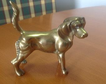 Vintage brass bronze dog statuette