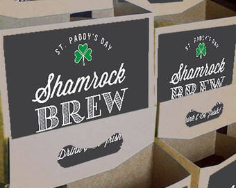 Custom 6-pack beer bottle carriers for St. Patrick's Day and other special events