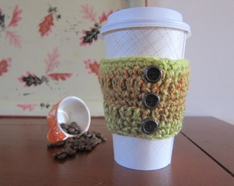 Coffee Cozy with Buttons, Button Cup Cozies, Button Cozies, Coffee Cup Cozy, Green Cozy, Cozies for Coffee, Cup Cozy Sleeve, Java Jacket
