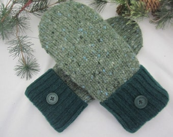 Women's wool mittens bayberry green tweed fleece lined size medium RTS ladies mittens