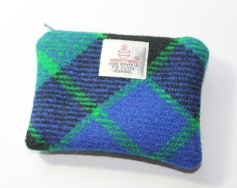 HARRIS TWEED purse, coin purse, change purse, green/blue/black Mackay Tartan