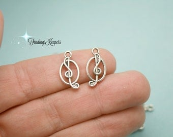 10 Music Note Charms Antique Silver Tone 17 x 9 mm Double Sided  ts1228