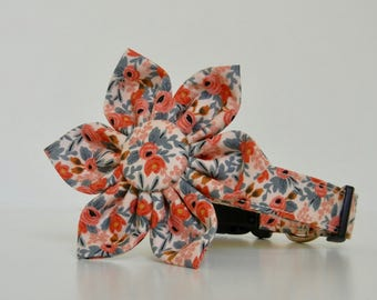 Peach Floral Pink Le Fleur Flower Dog Collar Easter Collar Wedding Accessories Made to Order