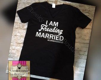Im freaking married single divorced complicated engaged current status Funny Girl Glitter Shirt Sparkly Clothes pizza graphic tee