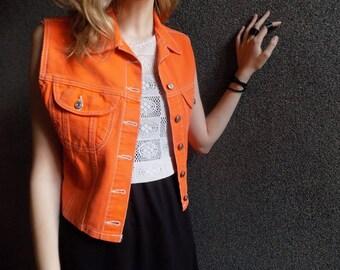Take me to the Magic Place- Retro Denim Orange Vest with DIY & troll Patch