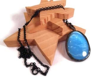 Blue Glass Pendant Cats Eye Glass Necklace Blue Oval Necklace Powder Blue Jewelry Glass  Metal Jewelry Handmade Necklace  Blue Bead Pendant