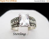 Sterling Silver Engagement Ring - Signed 925 - Large Faceted Solitaire - Vintage CZ Size 8